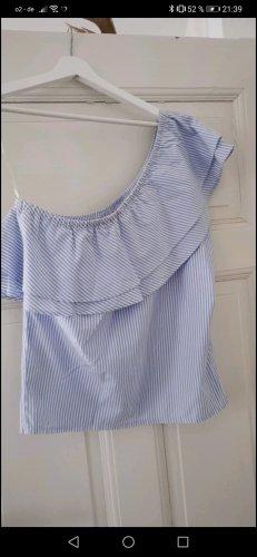 New Yorker Camisa de un solo hombro blanco-azul celeste