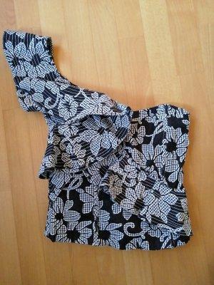 Zara Woman Top monospalla bianco-nero