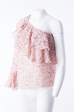 One-Shoulder Bluse mit floralem Muster Rosa Gr. L