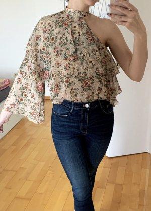 One shoulder Bluse mit Rüschen