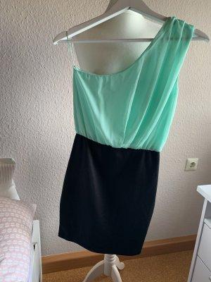 Amisu Robe asymétrique noir-turquoise