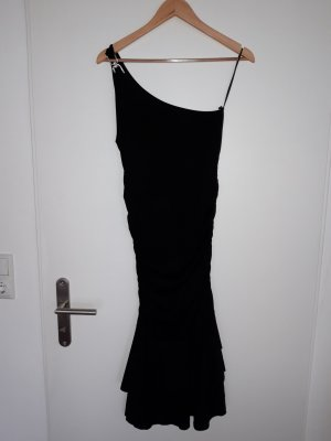 One shoulder dress - black with jewelry hook