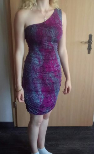 H&M One Shoulder Dress violet-pale blue mixture fibre