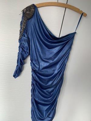 One Shoulder Kleid blau