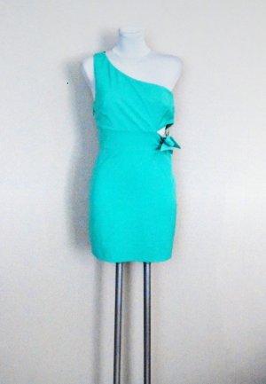 Zara Trafaluc Vestido de un hombro turquesa-verde