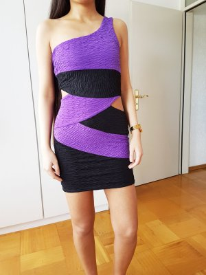 one shoulder Kleid crop Sexy Kleid party dress mit cutout black purple