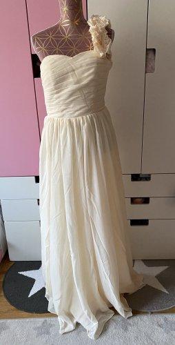 One Shoulder Kleid für besondere Anlässe creme hellbeige Größe M