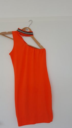 One Shoulder Dress neon orange mixture fibre