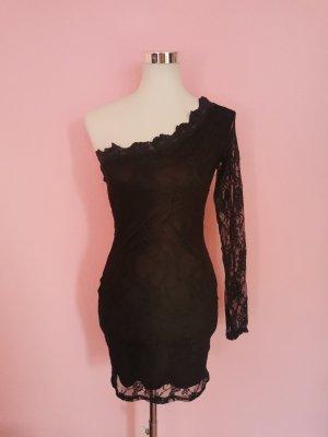 Sukienka na jedno ramię czarny Poliester