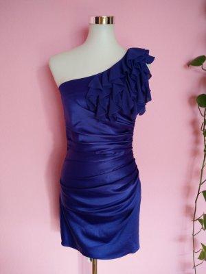 Robe asymétrique violet foncé-bleu foncé polyester
