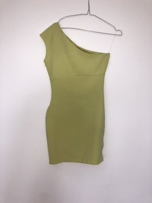 Zara One Shoulder Dress lime yellow
