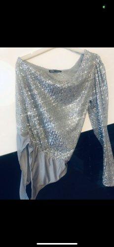 Zara One Shoulder Top silver-colored