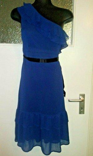 Orsay Vestido de un hombro azul oscuro-azul tejido mezclado