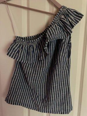 Esprit Camisa de un solo hombro azul acero-blanco