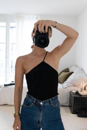 Zara Haut avec une épaule dénudée noir viscose