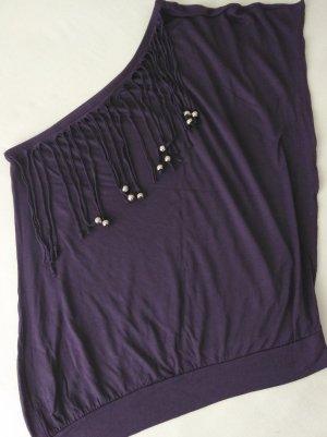 Camicia monospalla viola scuro