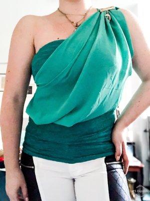 Haut avec une épaule dénudée vert menthe-bleu cadet