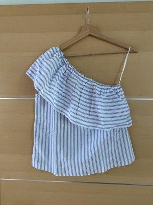 H&M Haut avec une épaule dénudée blanc-bleu azur