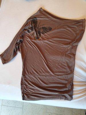 Haut avec une épaule dénudée marron clair-ocre