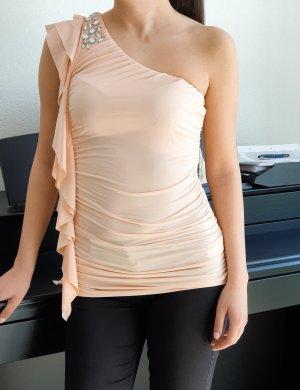 One Shoulder Top off shoulder sexy Party Oberteil rosa pink Schulterfreies mit Steinchen + Volant