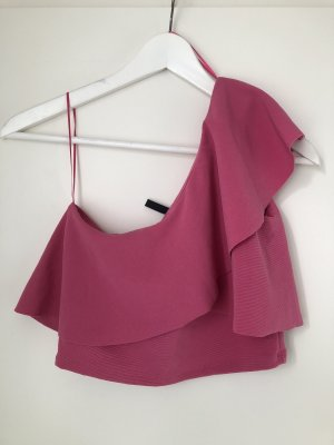 One Shoulder Top Pink Rosa Rüschen