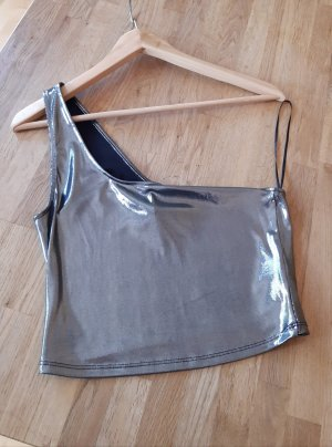 H&M One Shoulder Top silver-colored
