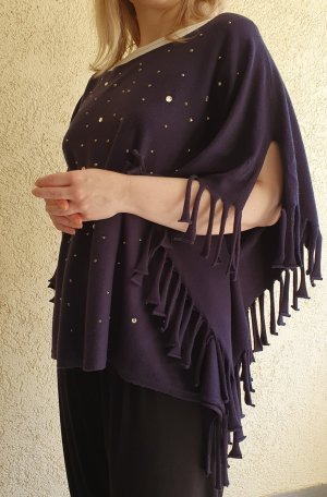 One-Size Poncho-Bluse mit Fransen