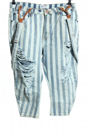 One teaspoon Jeans a 3/4 bianco-blu stampa integrale stile casual