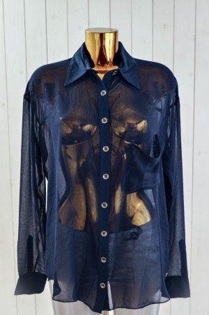 ONE TEASPOON Damen Bluse Tunika Blau Transparent Langarm Gr.8/ 36 Neu!