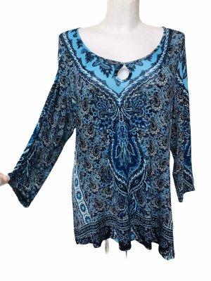 One World Damen Top Shirt mit Spitze Blau XL