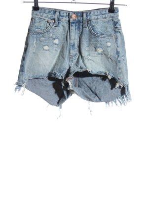 One x Oneteaspoon High-Waist-Shorts blau Casual-Look