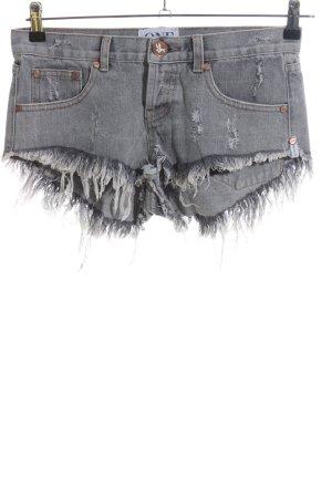 One x Oneteaspoon Hot Pants hellgrau Casual-Look