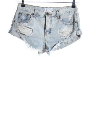 One x Oneteaspoon Short en jean bleu style décontracté