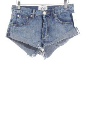 One x Oneteaspoon Short en jean bleu Fixation de logo (en cuir)