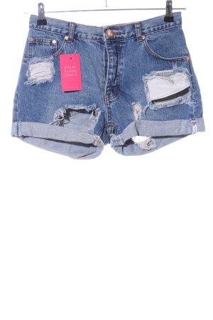 One x Oneteaspoon Shorts blau Street-Fashion-Look