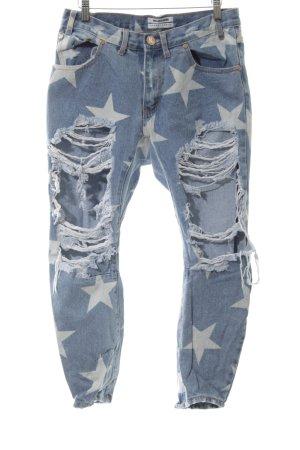 One x Oneteaspoon Slim Jeans blau-weiß Allover-Druck Casual-Look