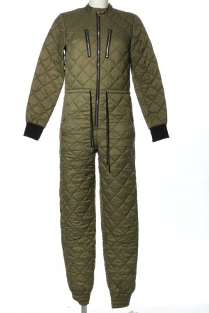 Onepiece Langer Jumpsuit khaki-schwarz Steppmuster Casual-Look