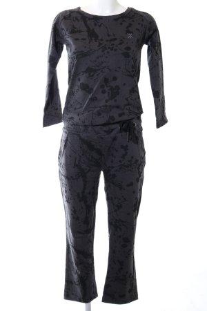 Onepiece Onesie schwarz-hellgrau abstraktes Muster Casual-Look