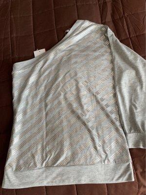 Eénschoudershirt lichtgrijs-zilver