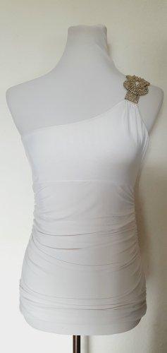 Oneshoulder Shirt weiss mit Schmuckteil Gr 36 38