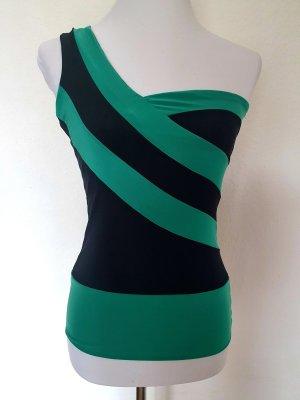 Oneshoulder Top Grün schwarz Figurschmeichler Softstretch 36/38 NEU MIT ETIKETT