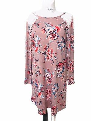 OnetheLand Damen Kleid Rosa Blumen L