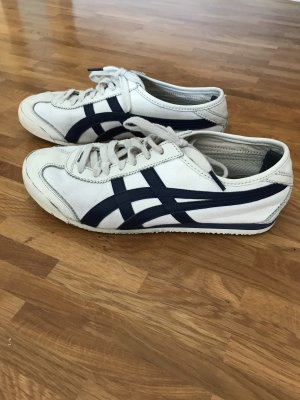 Asics Basket à lacet blanc-bleu acier