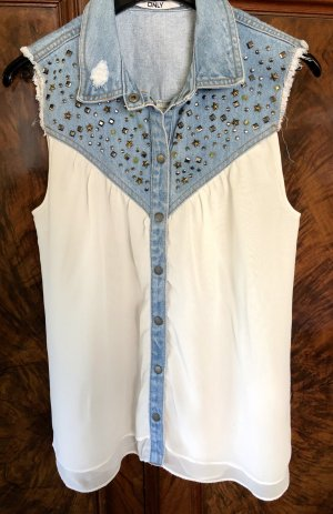Only Sleeveless Blouse white-steel blue cotton