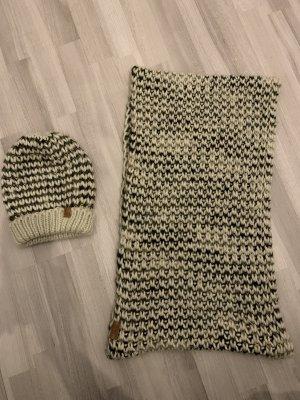 Only Accessories Set, Mütze & Schal, gestrickt, offwhite mit grau beige