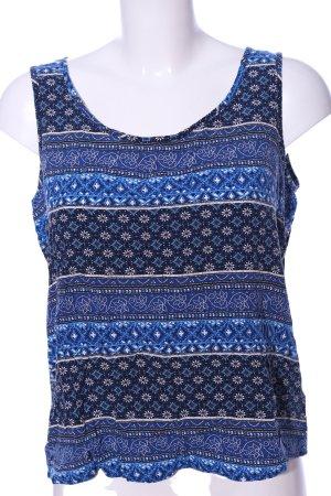 Only ärmellose Bluse blau Allover-Druck Casual-Look