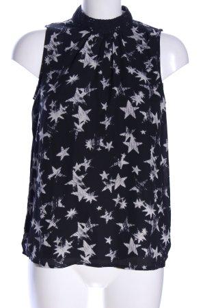 Only ärmellose Bluse schwarz-weiß Motivdruck Casual-Look