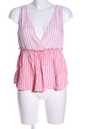 Only ärmellose Bluse weiß-pink Streifenmuster Casual-Look