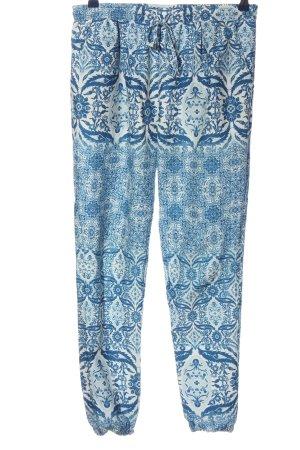 Only Baggy Pants blau-weiß abstraktes Muster Casual-Look