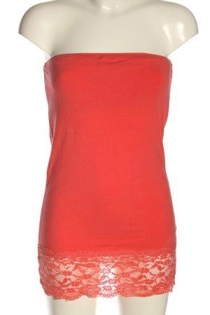 Only Top z dekoltem typu bandeau czerwony W stylu casual